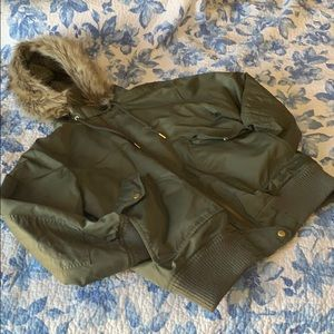 JCrew Fur-Trimmed Unisex Bomber Jacket
